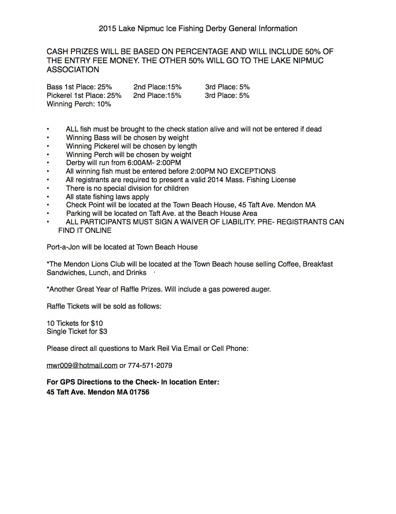 Fishing Derby Flyer 2015 – General Liability Waiver